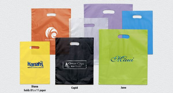 Bags & Totes - Promos4sale.com - Promotional Products, Promotional Items - Frosted color plastic bags with die cut handle and bottom gusset. Foil Imprint.