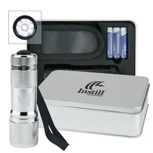Gifts Ideas - Promos4sale.com - Promotional Products, Promotional Items -  	 FA60 	  	     Super torch gift pack with flashlight, batteries and pouch in tin gift box.
